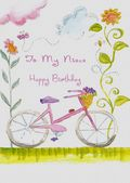 NIECE-BICYCLE AND FLOWERS